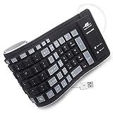 BONUSIS Foldable Silicone Keyboard Flexible Keyboard Roll Up Keyboard USB Wired Soft Waterproof Silica Gel Computer Keyboard (103 Keys) for PC Laptop Notebook [Black]