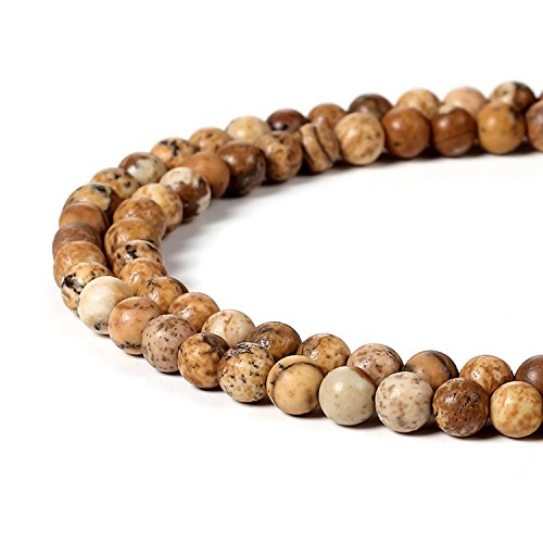 Picture Jasper Necklace (BEADNOVA 4mm Brown Picture Jasper Gemstone Round Loose Beads for Jewelry Making (94-96pcs))