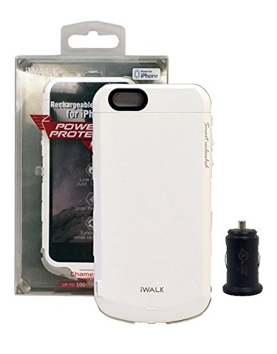 iWalk Protective Battery Case for iPhone 6/6S 4.7inch White - (2,400mAh) with 1.0 Car Charger (Retail Packing Kit)