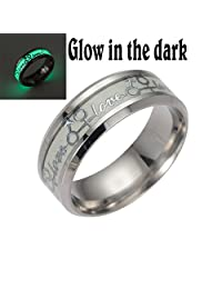 Qiao La 8mm Luminou Effect Stainless Steel Band Ring Love Promise Valentine Couples Wedding Engagement QL290