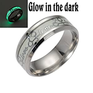 Qiao La 8mm Luminou Effect Stainless Steel Band Ring Love Promise Valentine Couples Wedding Engagement QL290 (6)