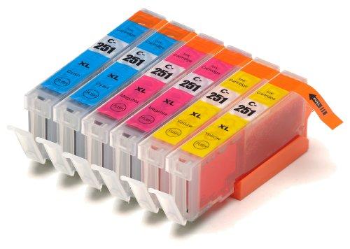 6 Pack Compatible Canon PGI-250 , CLI-251, Canon 251, Canon 250 2 Cyan, 2 Magenta, 2 Yellow for use with Canon PIXMA iP7220, PIXMA MG5420, PIXMA MG5422, PIXMA MG6320, PIXMA MX722, PIXMA MX922. Ink Cartridges for inkjet printers. CLI-251C , CLI-251M , CLI-