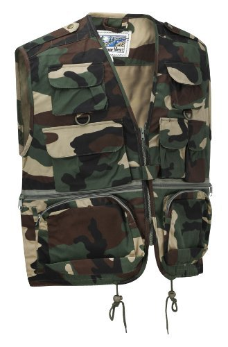 Camouflage Multi-Pocket Utility Vest Waistcoat Gilet (L, Woodland)