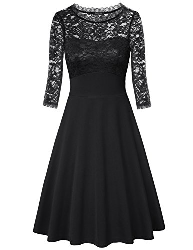 Fit and Flare Dress, Laksmi Womens Round Neck 3/4 Sleeve Empire Waist...