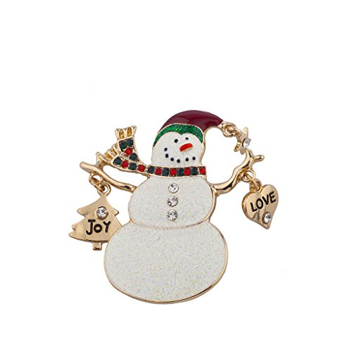 Lux Accessories Christmas Xmas Holiday Glitter Snowman Love Joy Brooch Pin