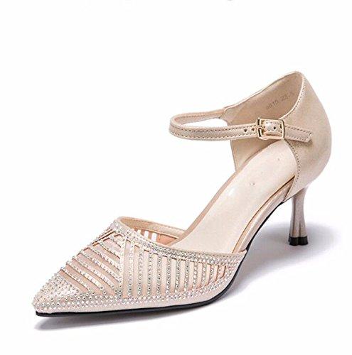 HBDLH-7Cm Hohen Absätzen Sandalen Im Frühling und Sommer Das Wasser Läuft Ausgehöhlt Baotou Leere Schuhe Spitze Dünne Sohle Damenschuhe.
