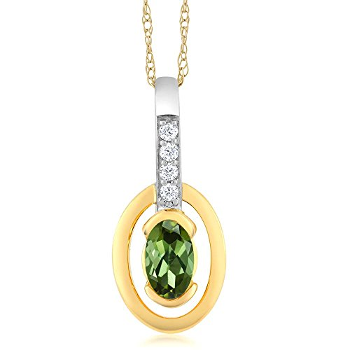 Gem Stone King 10K 2 Tone Gold Oval Green Tourmaline and Diamond Pendant With Chain