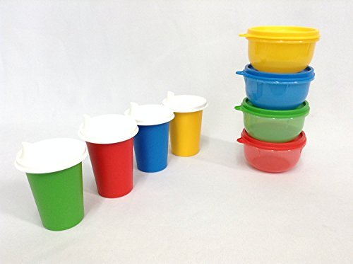 Tupperware 4 Ideal Little Bowl Set, 4 Bell Tumblers with 4 Domed Sipper Sippy Seals in Primary Colors (12 Pieces) - Tumbler 4 Piece Sipper