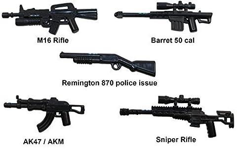 Assault Rifle gun set compatible w / LEGO® minifigures Halo Mega Bloks Kre-o M16 AK47 - Gun Sniper Set
