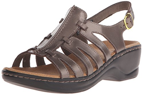 (CLARKS Women's Lexi Marigold Q, Pewter Leather, 6.5 D-Wide)