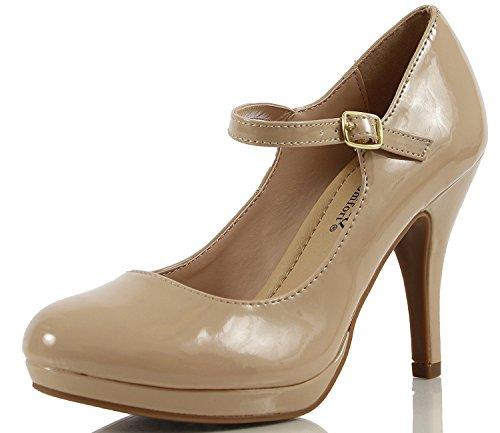 City Classified Women's Comfort Dennis Mary Jane High Heel Beige Patent 7.5