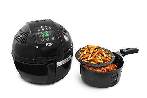 Elite Platinum 3.5 Quart Two-Tiered Electric Digital Air Fryer Cooker, 1400-Watts with 26 Full Color Recipes (Black)