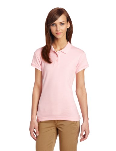 Classroom School Uniforms Junior Girls Short Sleeve Fitted Interlock Polo, Pink, Medium