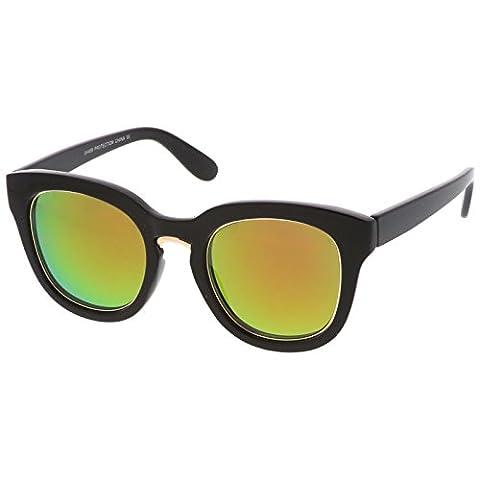 sunglassLA - Cat Eye Colored Mirrored Flat Lens Metal Bridge Trim Sunglasses 50mm (Black Gold / Magenta Green (Magenta Green)