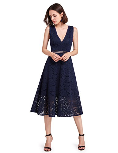 Alisa Pan Womens V Neck Retro Floral Lace Navy Blue Evening Party Dresses For Women 05919