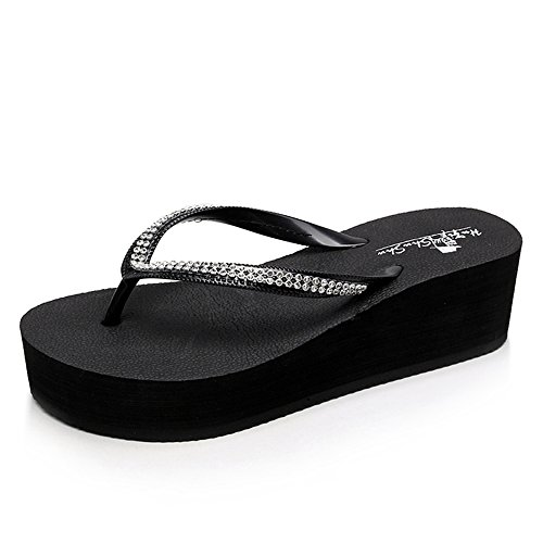 Verano FEI tacones 37 Mules Azul Color Negro personalizadas Negro Casual Tamaño altos Zapatos de Sandalias Marrón Negro Rosa Sandalias playa CCqBwrx