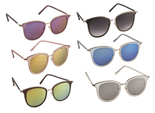 6 Pack Wayfarer Metal Frame Sunglasses with Mirror Lens, - Sunglasses Pack 6