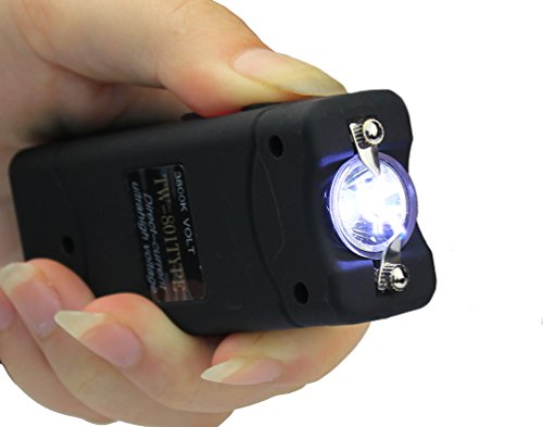 Siscon 3800KV Mini Stun Gun Rechargeable with LED Flashlight (Black)