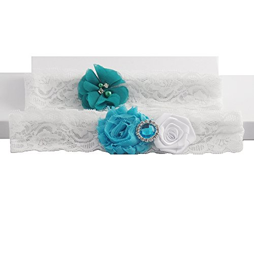 Ocean Theme Wedding Garter Lace Set White