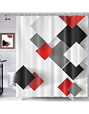 Homewelle Red Black Shower Curtain