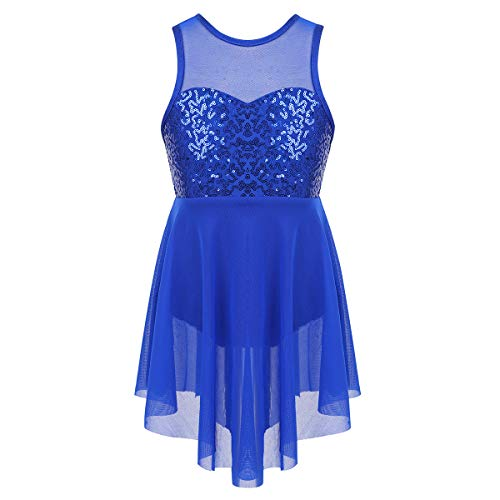 TiaoBug Kids Girls Lyrical Modern Contemporary Dance Outfits Floral Sequins Celebration of Spirit Praise Lyrical Dance Dress Blue Illusion Sweetheart Neckline 14 (Illusion Dress Blue)