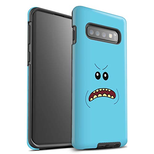 eSwish Matte Tough Shock Proof Phone Case for Samsung Galaxy S10 / Angry Design/Funny Meeseeks Faces Collection