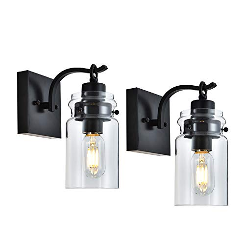 Cuaulans 2 Pack Glass Wall Sconces Lighting Fixture, Black Wall Sconce Clear Glass Shade Wall Lighting Fixture for Bathroom Bedroom Hallway