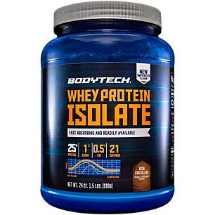 BodyTech Whey Protein Isolate Powder with 25 Grams of Protein per Serving BCAA's Ideal for PostWorkout Muscle Building Growth, Contains Milk Soy Rich Chocolate (1.5 Pound)