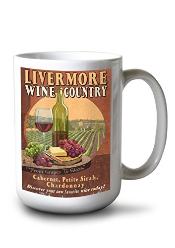 Lantern Press Livermore California Wine Vintage Sign 15-ounce White Ceramic Mug