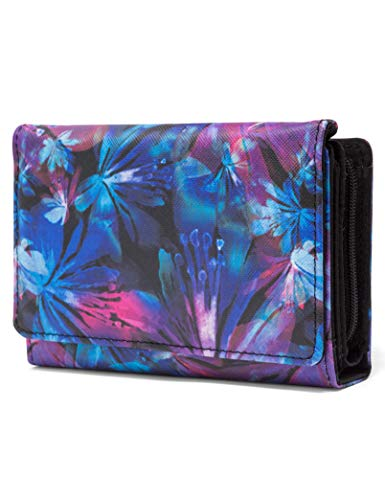 Mundi Small Womens RFID Blocking Wallet Compact Trifold Safe Protection Clutch With Change Purse (Technicolor Floral)