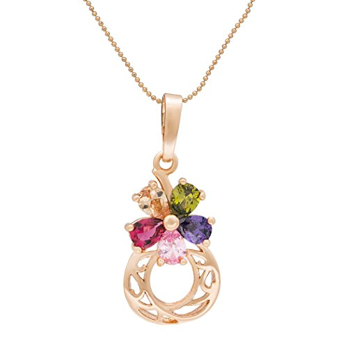 Romantic Time Colorful Diamond Cluster Rose Moon 18k Christmas Valentine's Pendant Necklace (3 Glass Teardrop Shades)