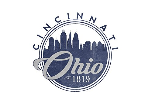 Cincinnati, Ohio - Skyline Seal (Blue) (24x36 SIGNED Print Master Giclee Print w/ Certificate of Authenticity - Wall Decor Travel (Cincinnati Ohio Usa Framed)