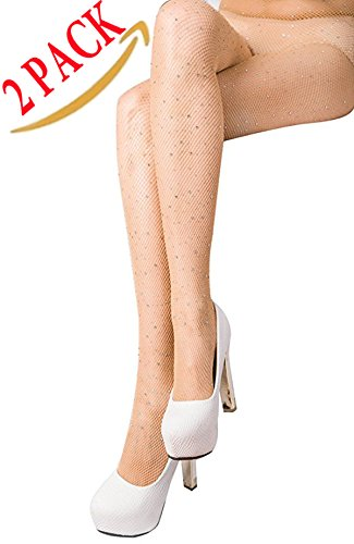 DancMolly Fishnet Stockings Pantyhose Women's 2 Pair High Waist Hollow Mesh Tights Legging Hosiery (Rhinestone/Nude Small Hole,2 Pack, One Size)