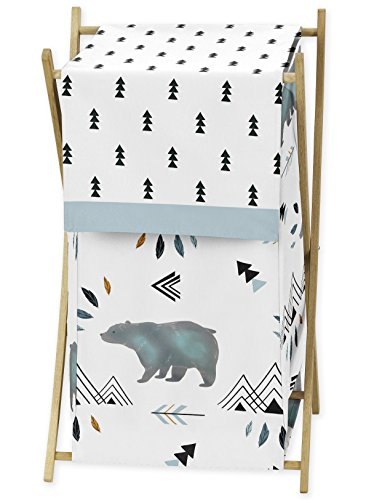 Sweet Jojo Designs Baby Kid Clothes Laundry Hamper for Bear Mountain Watercolor Collection by by Sweet Jojo Designs