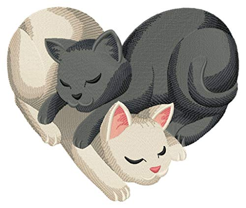 Snuggling Cats Heart (7.80 x 6.54 inches) Iron-on Patch - Iron on Patch - Embroidered Patch - MADE TO ORDER