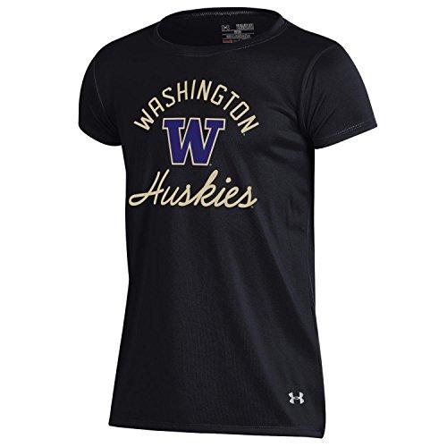 Under Armour NCAA Washington Huskies Youth Girls Short sleeve performace Tee, X-Small, Black - Washington Huskies Ncaa Tee