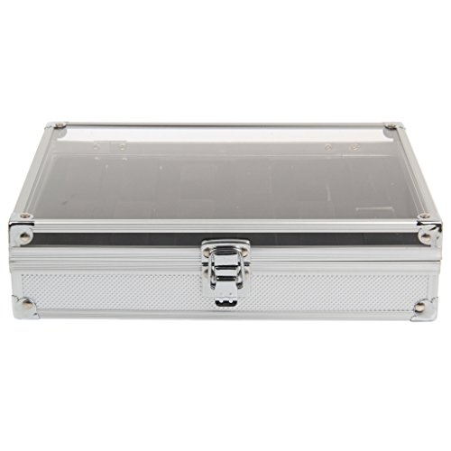 CellDeal Aluminium Watch Storage Case Bracelet Organiser Display Box With Pillows Holders 12 Grid