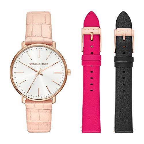 Michael Kors Women Pyper Quartz Leather Pink with White Dial Watch MK2775