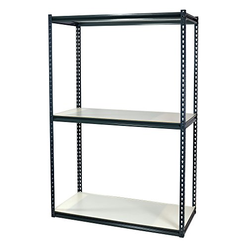 Storage Pro Garage Shelving Boltless, 3 Shelves with White Laminate Particle Board, Double Rivet, 36 x 24