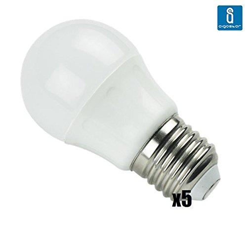 Pack de 5 Bombillas LED A5 G45 esferica, 3W, casquillo gordo E27, luz blanca 6400K: Amazon.es: Iluminación