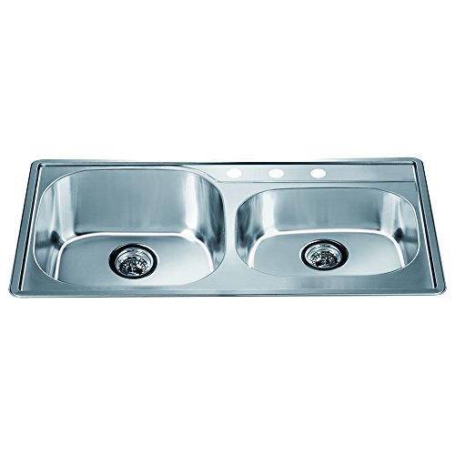 Satin Polished Double Bowl - Dawn CH355 Top Mount Double Bowl Sink with 3 Holes, Polished Satin