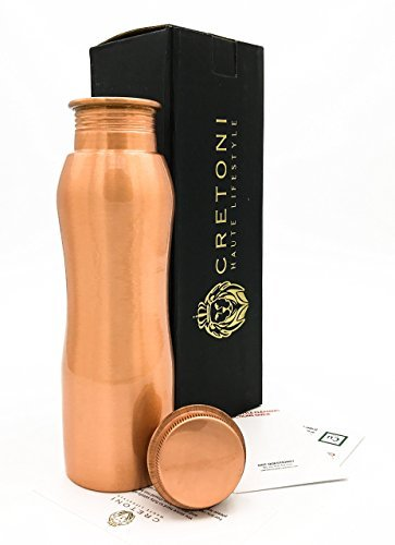 Cretoni Certified Pure Copper Water Bottle - Curved Bike friendly Leak Proof design - Perfect Ayurvedic Copper Vessel for Sports, Fitness, Yoga & Natural Health Benefits. (850 ml / 28 oz.)