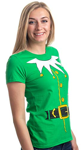 Santa's Elf Costume | Jumbo Print Novelty Christmas Holiday Humor Ladies' T-shirt-Ladies,S Green -