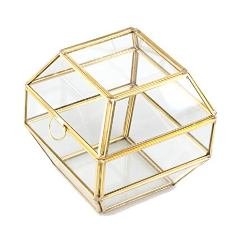 NCYP Small Modern Brass Copper Clear Glass Jewel Ring Box Geometric Terrarium Succulent Planter Pot Closed Plant Moss Fern Geo Container Wedding Decor Box with Swing Lid Gold