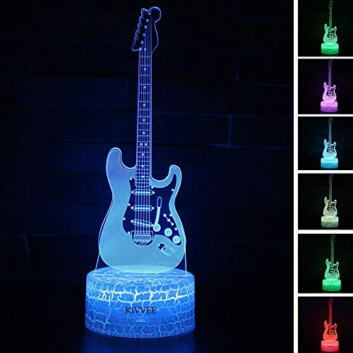 Visual 3D lamp Electric Guitar Musical Instruments Illusion Night light Festival Birthday Day Children Gift Nursery Bedroom Desk Table Decoration for Boys Kids Music Lovers by KIVVEE -