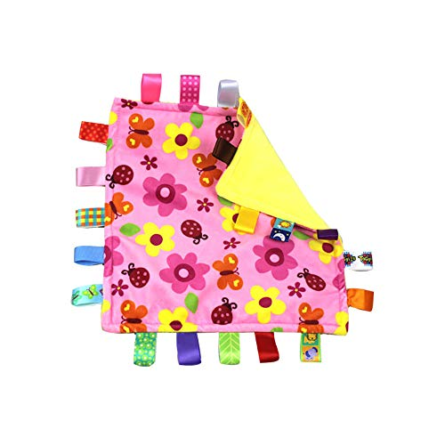 G-Tree Pink Flower Tag Comforter Security Blankets with Colorful Tags Infants Toddlers Soft Plush Taggie Blanket Newborn Baby Girl Great Gift
