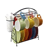 Kitchen Tea Set Porcelain Drinkware Set Saucers European Coffee Cup Rainbow Color Ceramic English Afternoon Tea Cup Dish Set with Dish Spoon with Iron Frame (6 Pieces)