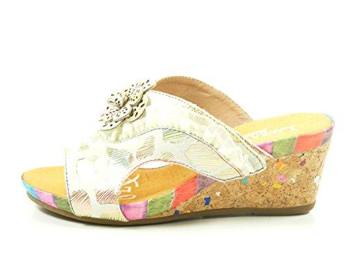 Laura Vita SL140356-12A Benoit 12 Schuhe Damen Sandalen Keil Pantoletten Beige