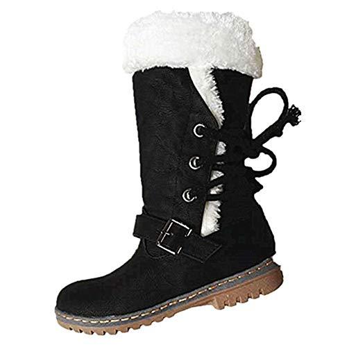 34 Pelliccia Caldo Giallo Snow Kaki Nero Con Fodera Boots Lungo Peluche Slip Alti Piatto Scamosciati Lacci Stivali 46 Anti Neve Beige Invernali Donna Marrone qxB0TX1p
