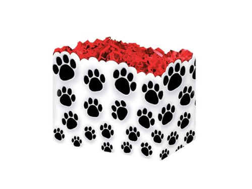 (Pack Of 6, Small Paw Prints Gift Basket Boxes 6-3/4 X 4 X 5